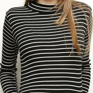 Brandy Melville White & Black Striped Long Sleeve